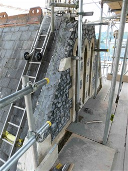 Repairs in progress at the top of the North Transept