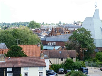 A view east across Hertford from the top of the scaffolding